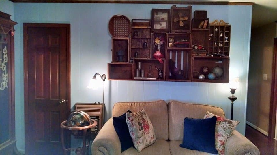 Wood Boxes as Shelves, Decorating with Wood Boxes, Antique Wood Boxes