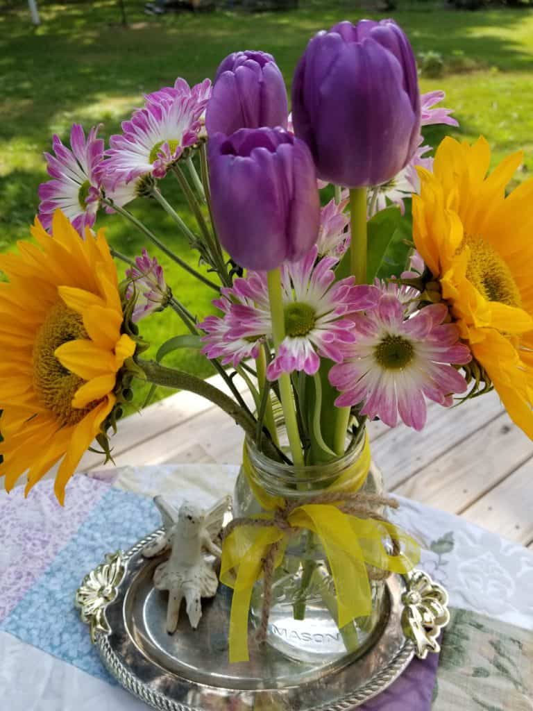 Tablescape, Outdoor dining, Summer Bouquet