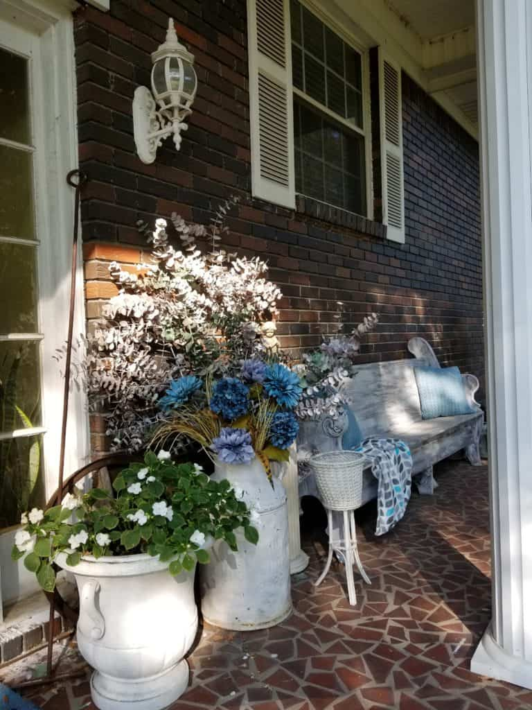 Fall front porch, Blue Fall decor