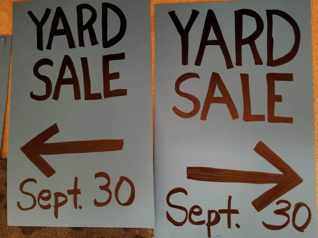 Yard Sale, Garage Sale, cleaning out, making spending money for travel