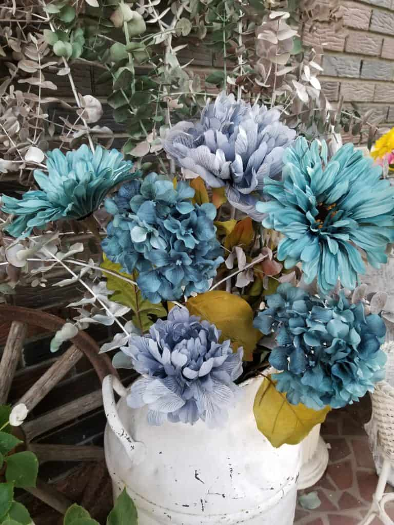Fall Porch, Fall Blue, Dusty blue for fall, transitioning fall blue to Christmas