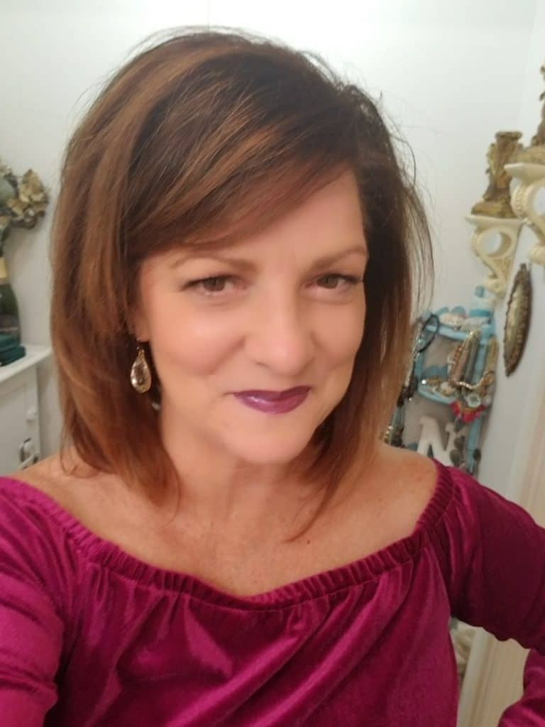 Midlife fashion, Lipsense Plum, Stitchfix, Mixed Threads Velvet Off shoulder top, Carrabbas