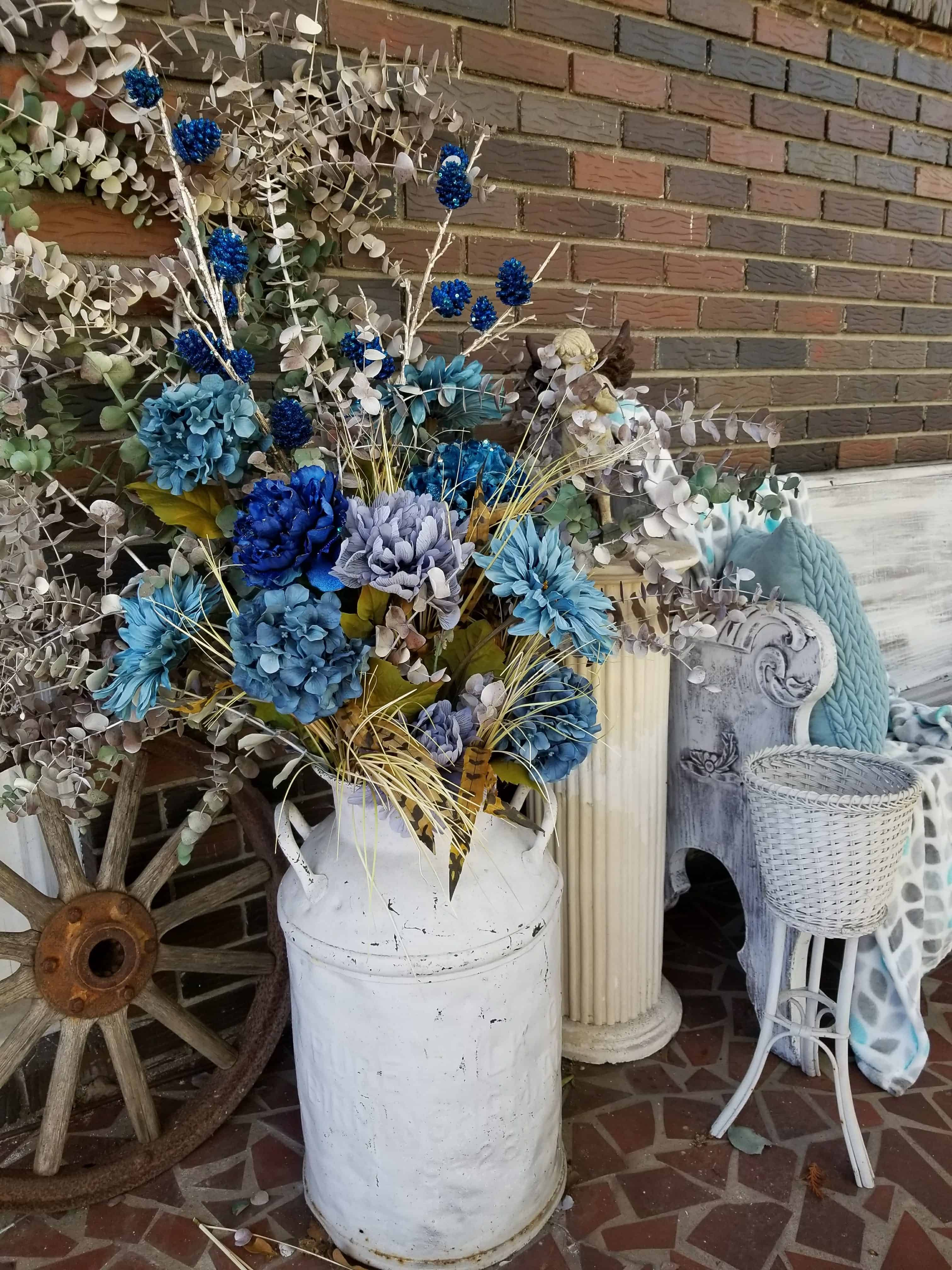 Front porch decor, Fall to Christmas, Blue for Fall, Blue for Christmas, antique milk can,