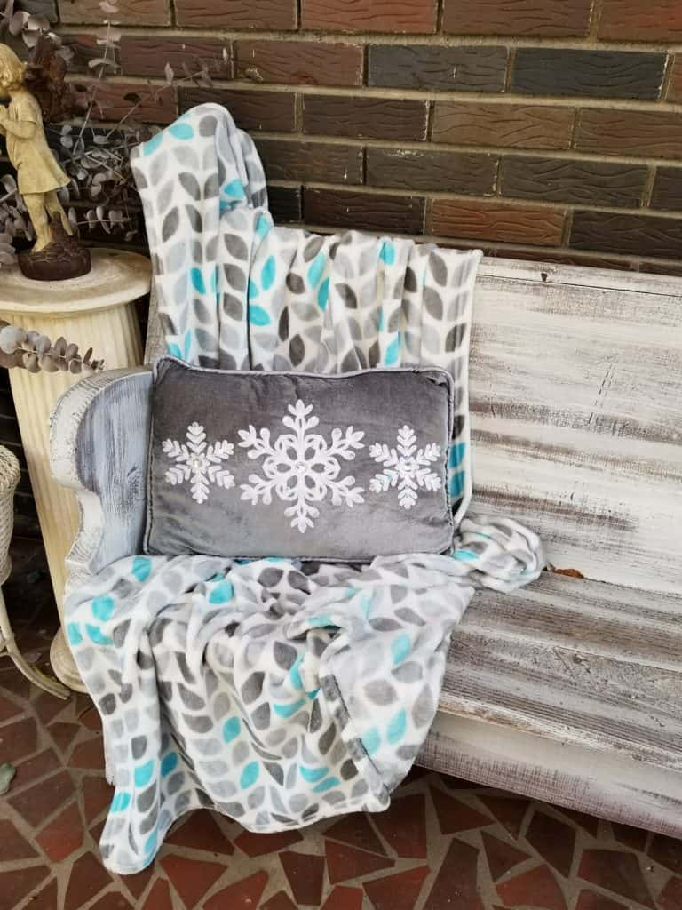 Front porch decor, Fall to Christmas, Blue for Fall, Blue for Christmas