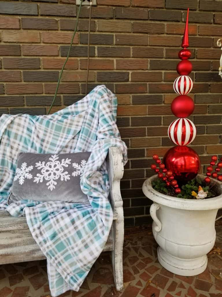 Front porch decor, Fall to Christmas, Blue for Fall, Blue for Christmas, Shimmer Collection, Big Lots