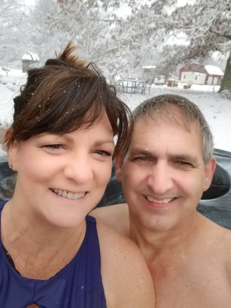 Alabama snow, Snow in the South, Dec 8 2017, snow in the garden, hot tub in the snow