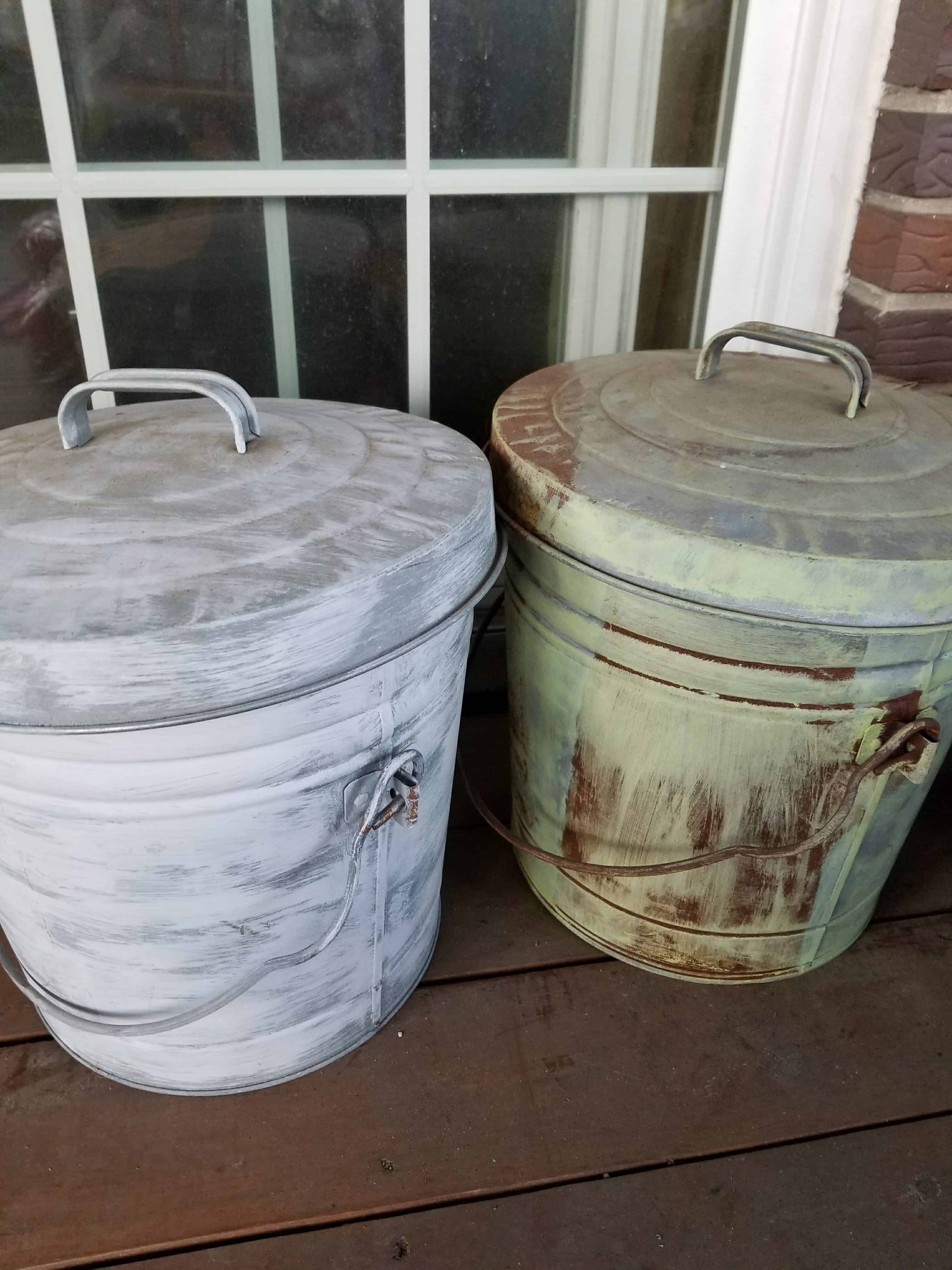 galvanized buckets, rusty buckets, painted buckets, bird seed storage