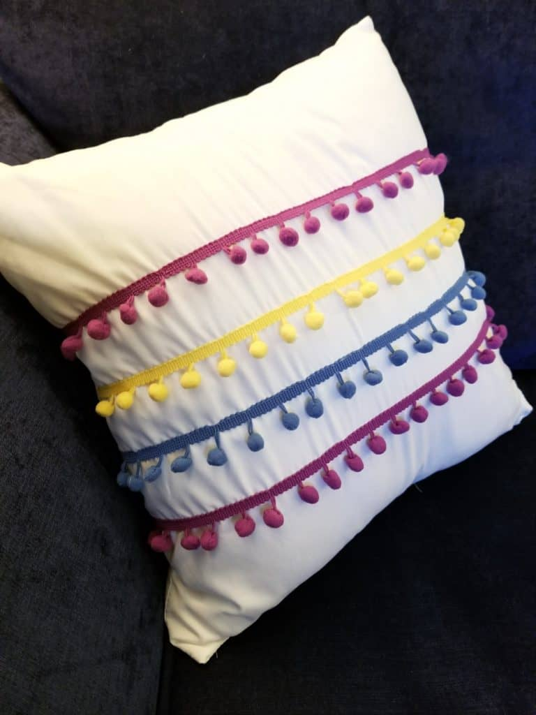 Spring Front Porch, Bright Front Porch, Bright Color Spring, Yellow and Pink Spring Porch, Colorful pillow, pom pom pillow