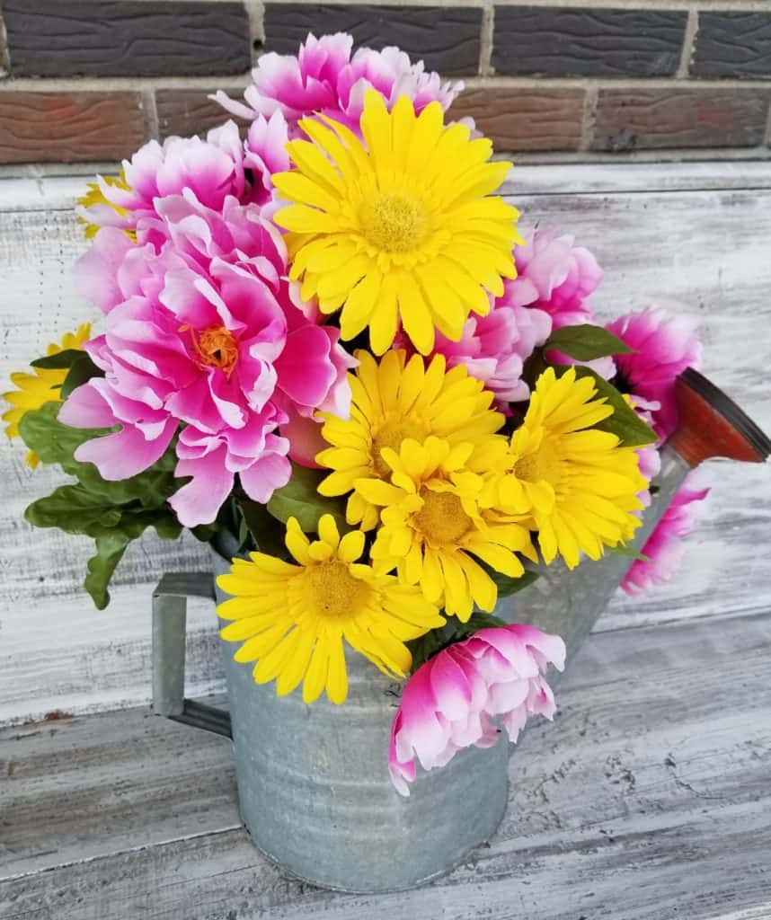 Pink & yellow flowers, flowers in watering can, front porch decor, spring decor, spring front porch