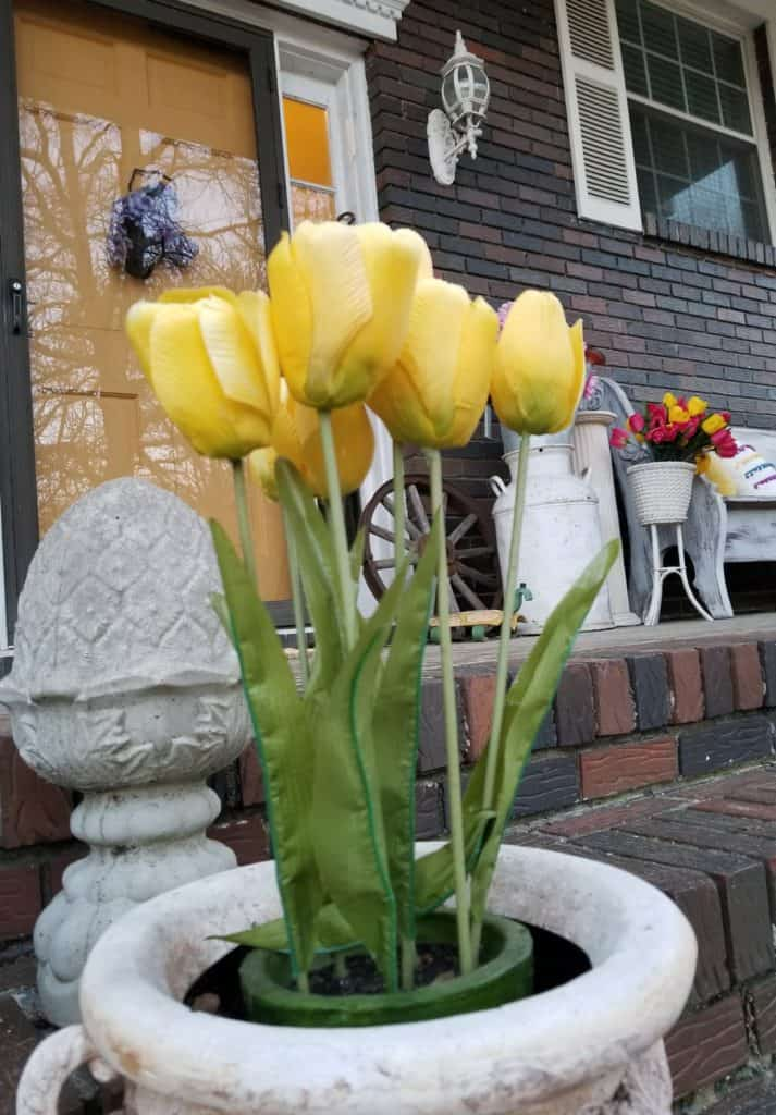 Tulips, Yellow Tulips, Bright Spring Porch,