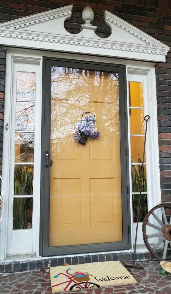 Yellow Front Door, Bright Spring Front Porch, Bicycle Welcome Mat