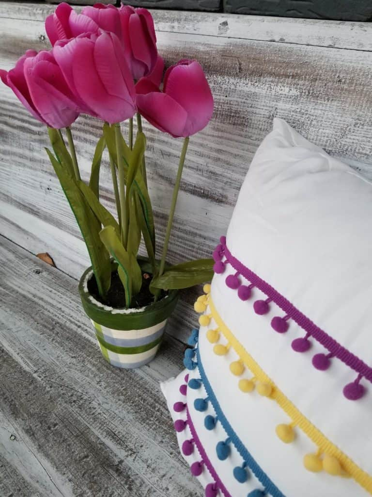 Tulips, Pink Tulips, Bright Spring Porch, Pom Pom Pillow