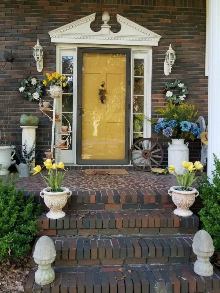 Update Past Front Porch Fall Decor, Yellow Fall Decor, Front Porch with yellow door and blue and yellow flowers