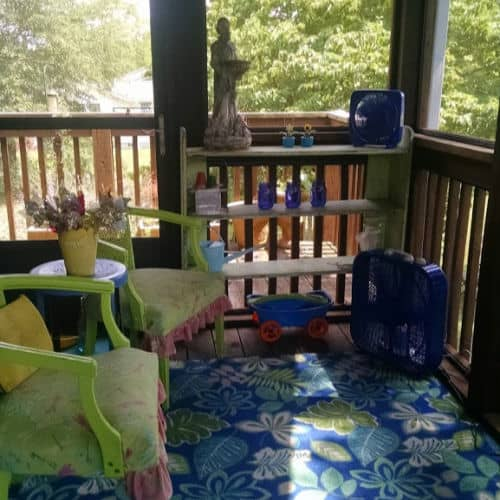 Deck decorated with Bright green and blue