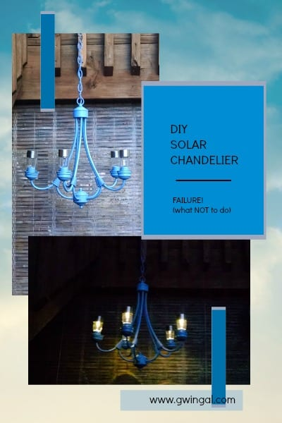 blue Chandelier with solar lights before and after dark