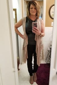Leather and Lace Stitch Fix style for over 50, black jeans with Black pleather top, and long beige lace kimono