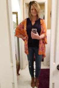 Fall Stitch fix for over 50, Navy top, Orange floral kimono, distressed skinny jeans