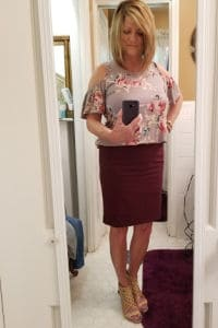 Fall Dressy Stitch Fix style for over 50, Maroon pencil skirt with cold shoulder floral top