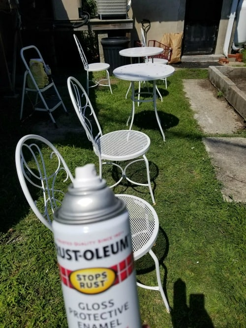 Freshen outdoor furniture with white spray paint