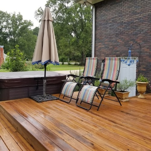 Making deck more comfortable and Inviting with umbrellas and chairs