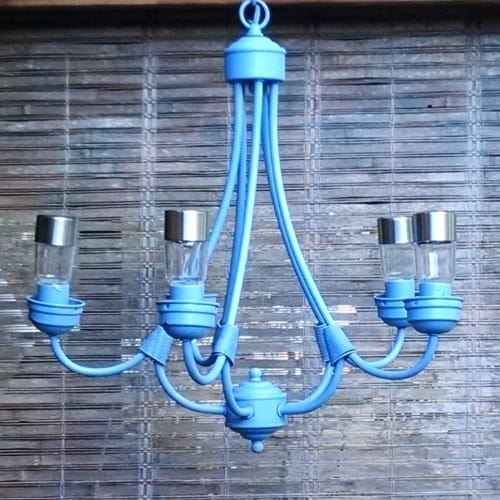 blue Chandelier with solar lights