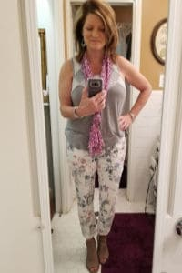 Stitch fix style for over 50, Gray tank with lace, white floral jeans, purple summer scarf