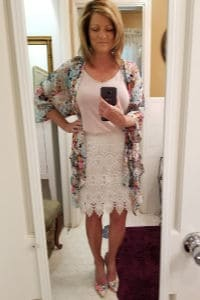 Summer dressy Stitch Fix style over 50, White Lace skirt with pink camisole, topped with floral kimono