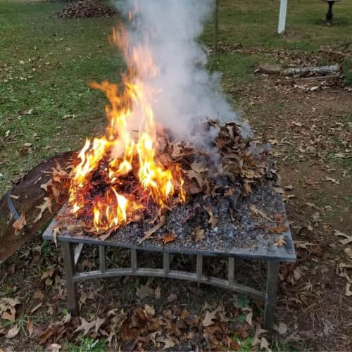burning fall leaves for composting